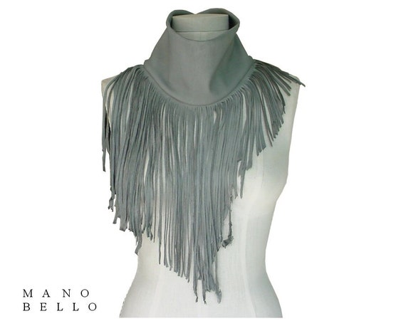 Grey Fringe Leather Cowl Scarf, Soft Deerskin Neck Piece in stock