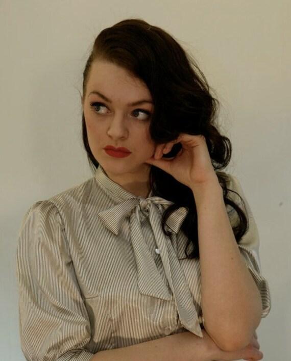 vintage inspired black and white pin stripe satin elegant secretary