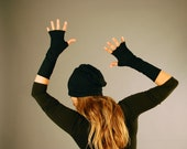Fingerless Gloves - Arm Warmers - Black - Organic Clothing - Eco Friendly