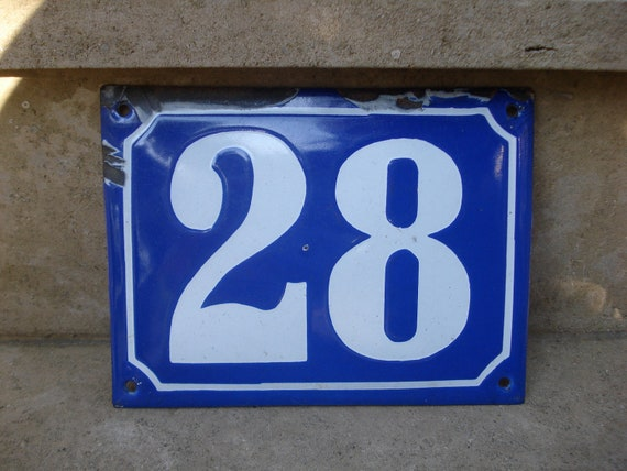 Vintage french large blue enamel house number