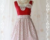 Summer Time II - Cute Spring Summer Dress Party Dress Vintage Design Tea Dress Lolida Dress Red Color With Floral Skirt Sundress