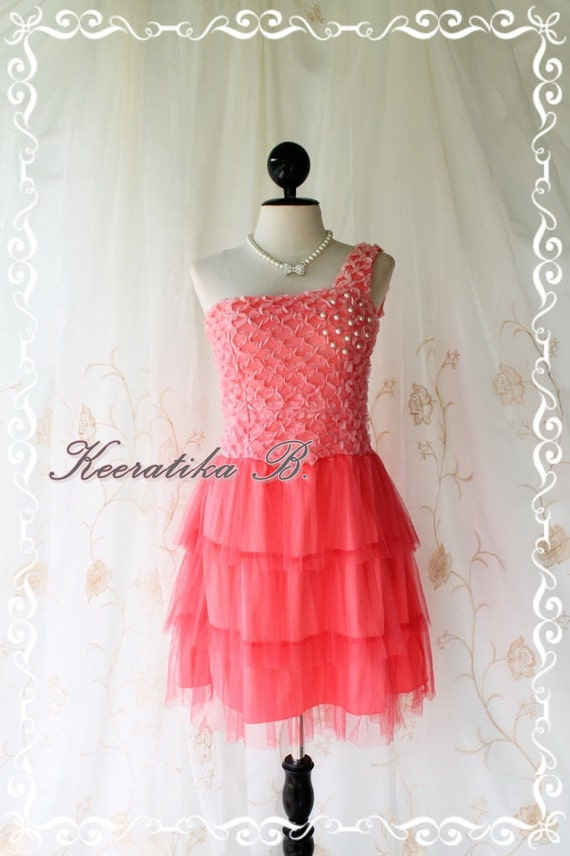 Princess Of The Night Cocktail Dress - Salmon Coral Pearl Beads Embroidered One Shoulder Tutu Wedding Night Party Prom Cocktail Size M