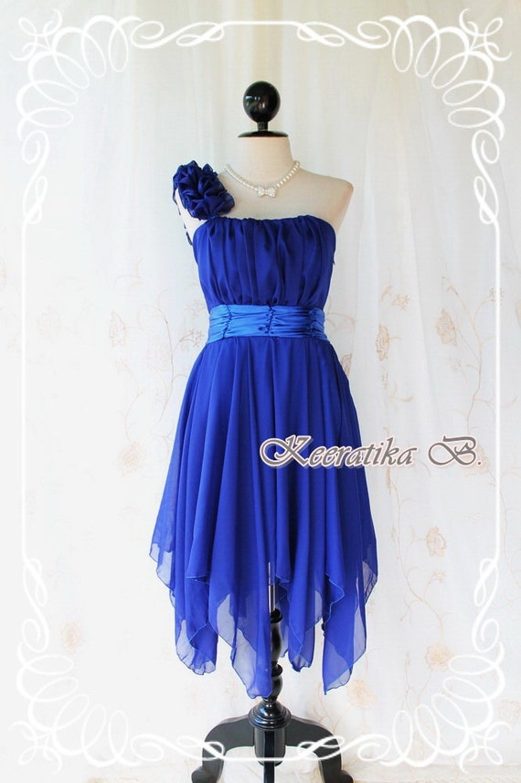 Juliet's Party - Royal Blue Cocktail Dress One Shoulder Strap Pleated Top Asymmetric Sharp Hem Prom Party Wedding Bridesmaid Dress M-L