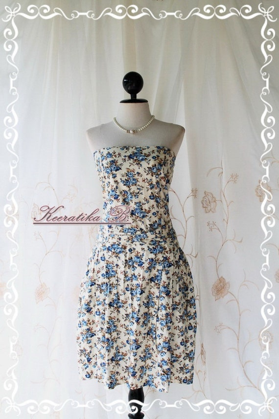 Jazzie - Strapless Sundress Blooming Floral Print Matching Sash Cutie Lovely Gorgeous Summer Dress Plus Size L-XL