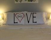 LOVE with Custom Initials Pillow Case Set LOVE Pillowcases Unique LOVE Pillows