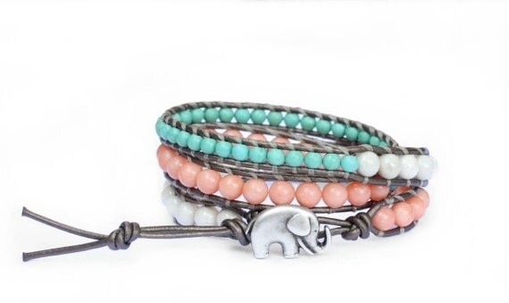 the lucky elephant Leather Wrap Bracelet - Turquoise, Coral and Cream with GOOD LUCK ELEPHANT