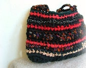 Rag bag - elegant crochet  bag in lovely red and black  fabric yarns - tagt team