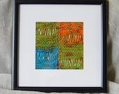 GEMS Fiber Art Framed OOAK - Hand Knit - Ready to Ship
