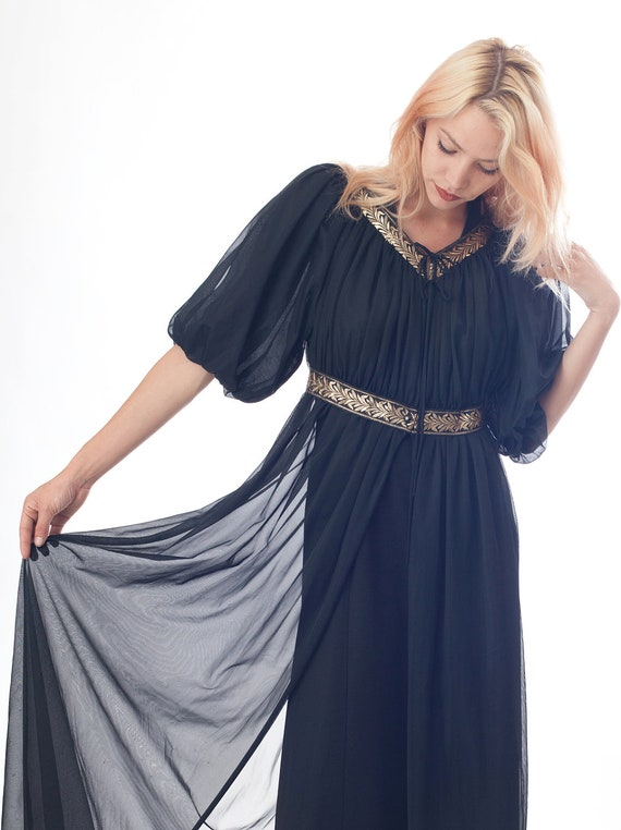 60's Princess Black Sheer Duster Robe With Gold Detail