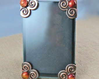 "Embellished Frame Small 2"" x3"" - Fused Glass Golden Orange Rusty Red Dichroic on Copper Plated Spiral Corners  - 2.25"" x 3.25"""