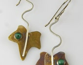 Patina Silver Ivy Leaf Earrings with Malachite, Silver Wavy Leaf Stems, Dangle Leaves, OOAK