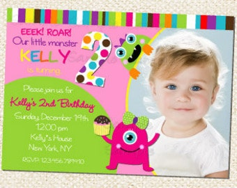 Monster Birthday invitations for Girl