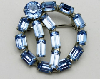 Vintage Circle Pin Blue Rhinestones Signed Kramer