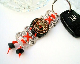 BEER KEYCHAIN - The Kansas City - red and black - upcycled/recycled/eco-friendly - under 10.00