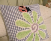 "Shabby Chic Vintage Style Chenille Flower Pillow Cover in Blue Check 16"" x 16"" - Cottage Chic - Ladybug"