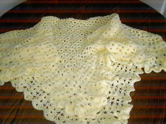 CROCHET BLANKET HANDMADE Cerise shawl with full  frill  Cuddle Blanket (nannycheryl original) 681  (A)