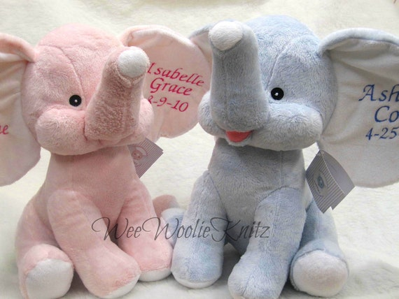 Personalized Stuffed Elephant New Baby Boy Or Girl Keepsake Baby Shower Baptism Birth Announcement