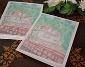 "Original Art Stationery... German House Note Card Set ""European Home"""