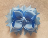 Solid Blue Boutique Style Hair Bow