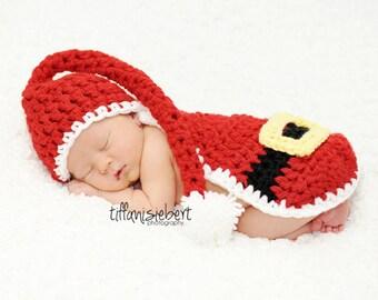 Santa Cuddle Cape Set/ Santa Hat/ Santa Costume/ Santa Baby Costume/ Santa Outfit MADE TO ORDER- Newborn and 0-3 Month Size