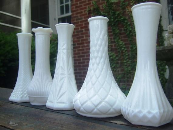 """Vintage White Vase Collection No. 4 - Minis 6"""" - 5pc"""