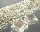 Necklace Kits - Square Pendant Tray, Cabochon, Shiny Rolo Necklace - 100 kits
