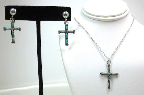 Vintage Turquoise and Sterling Silver Cross Necklace Pendant and Cross Earrings, Rare, Natural Turquoise