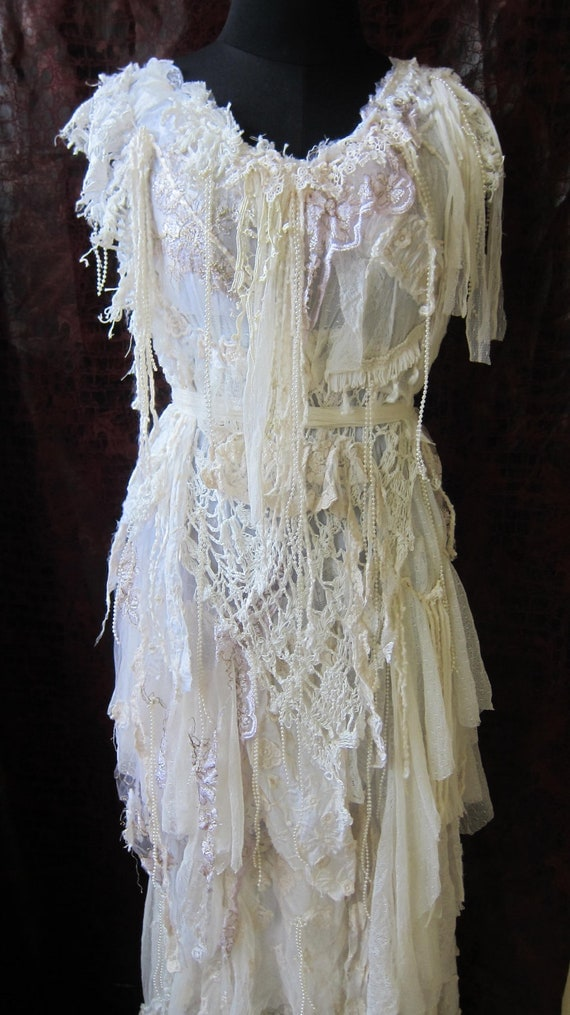 RESERVED..made for you to say i do....vintage inspired bohemian dress made from a ton of love...