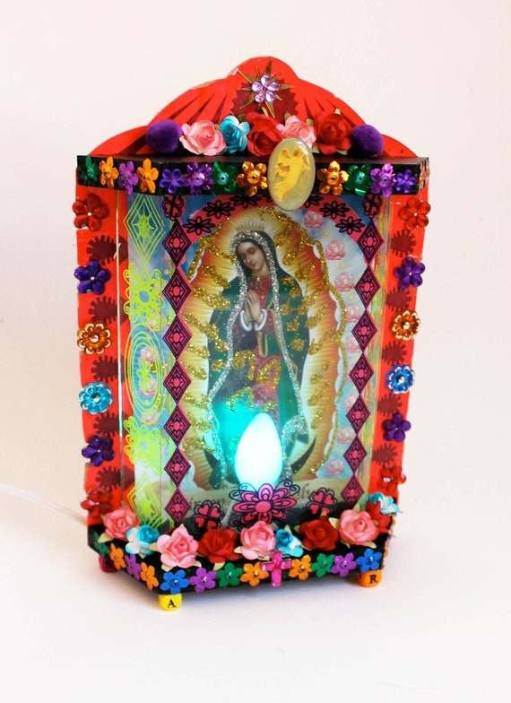 Our Lady Of Guadalupe Lamp Mexican Folk Art Rainbow