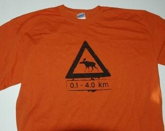 Norwegian Moose Crossing Tshirt Adult Texas Orange