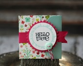Hello There - Lunchbox note - flowers with pink ribbon