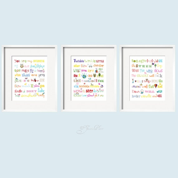 You Are My Sunshine, Twinkle Twinkle Little Star and Rock-A-Bye Baby 11x14 Rainbow colors by Yassisplace