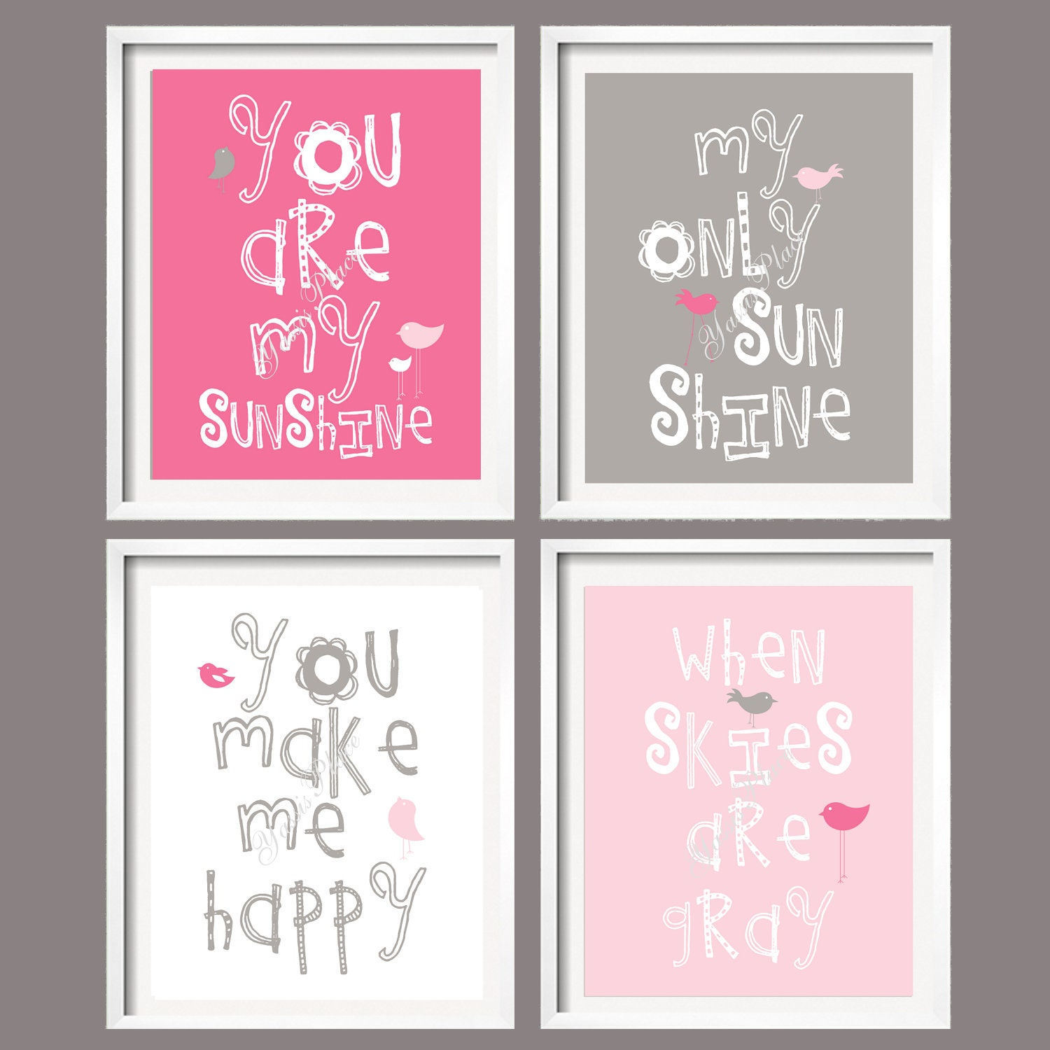 Kids wall art print you are my sunshine pink and grey for Pink wall art