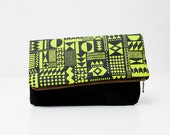 APRIL SALE Geometric Pattern Leather Pouch neon lemon No. ZP-301