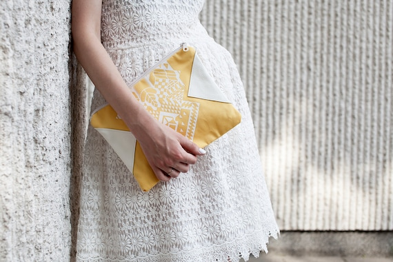 SUMMER SALE Geometrical Illusion Printed  Leather Pouch  White No. ZP-205