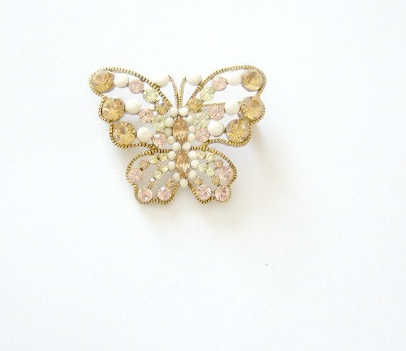 Vintage Peach Butterfly Brooch Green White Stones