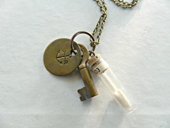 Nautical Charm Necklace Vintage Repurposed