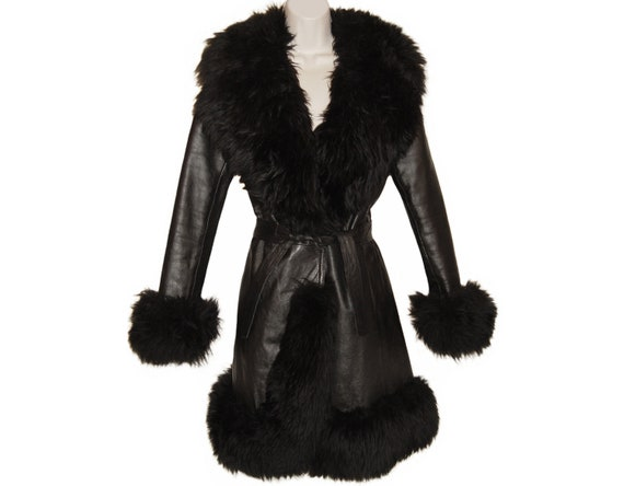 Black Leather Coat, Faux Fur Trim, Belted, Vintage 1970s