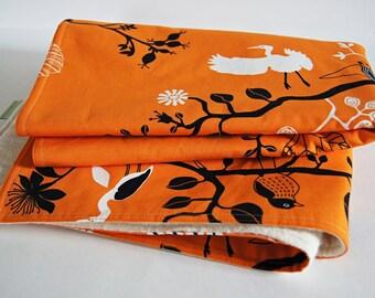 Organic Baby Nature Print Blanket/ Eco Friendly Kids Bedding/ Burnt Orange/ Unisex/ Made To Order