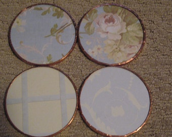 Set of 4-Glass Coasters Copper Tape seal-Floral Blue
