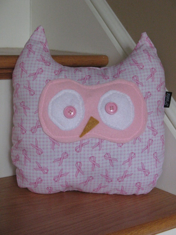 Owl plush toy pillow Breast Cancer Awareness