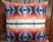 Pendleton Pillow, Indian Blanket, Wool, Large, Native American GREY