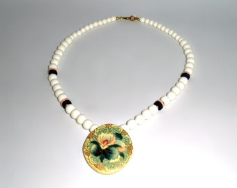 Vintage Japanese Hand Painted Beaded Porcelain Necklace 60s Lucite - Pink Orchid Flower outlined in gold - beads of white pink and black