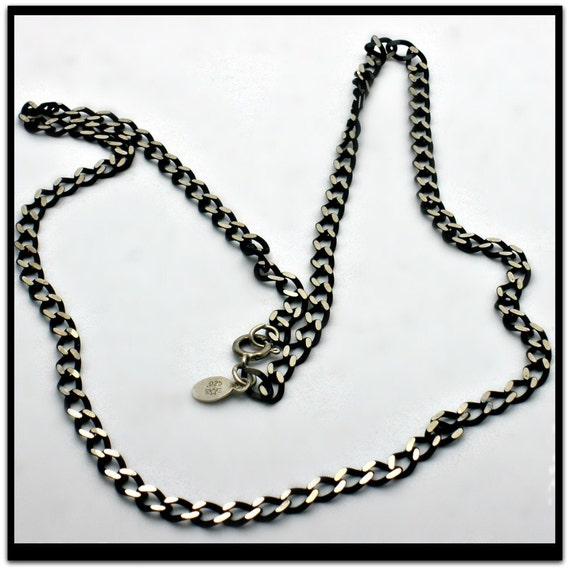 Sterling Silver Vintage 22 inch Italian Neck Chain - Unisex Two-toned Black and Silver Italian stamped 925 - flat diamond cut curb chain