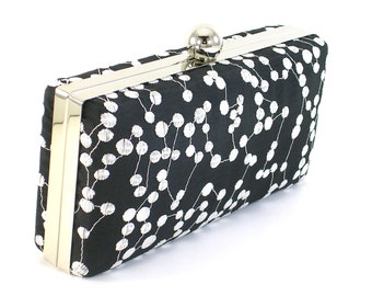Evening Bag Clutch  - Box Clutch Minaudière -  Black and White Embroidered Clam Shell - Women's Handmade Purse