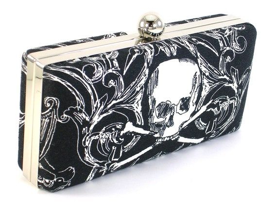 Skull -  Black and White -  Clutch - Clamshell - BagBoy