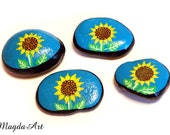 Sunflowers on Blue - Painted Stones by MagdaArt - pick one