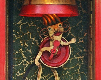 fantasy art whimsical carnival scene bearded lady art for children imaginative freak show print on wood giclee wall art red gold