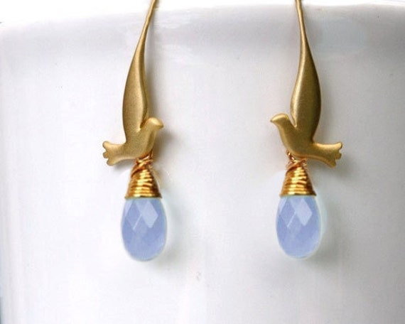 Bird earrings with dove and air blue opal crystal in gold or silver. Clear or purple