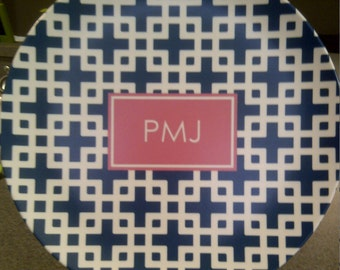 Personalized Dinner Plate, Personalized Plate, Personalized Melamine Platter, Monogrammed Melamine Plate, Monogram Plate, Melamine